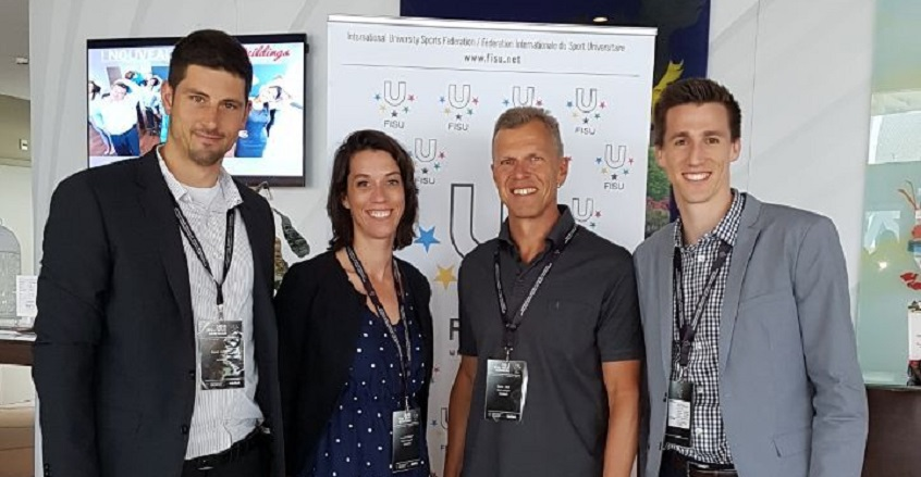 Representatives of our organizing committee in Lausanne. From left to right: Manuel Lohmann, Technical Delegate Beach Volleyball FISU; Franziska McKay, Manager Organizing Committee Michael Hahn, Head of Central University Sport; Julien Carrel, WUC Assista