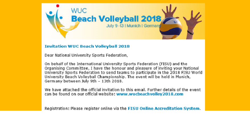Invitation NUSFs WUC Beach Volleyball 2018